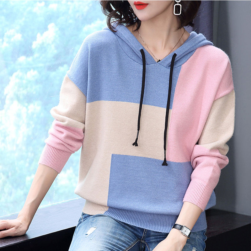 blue pink New Black Autumn Women Korean Sweater Ladies Pullover Fashion sleeved 2018 Winter Long Hooded Yl339 p6SHqw