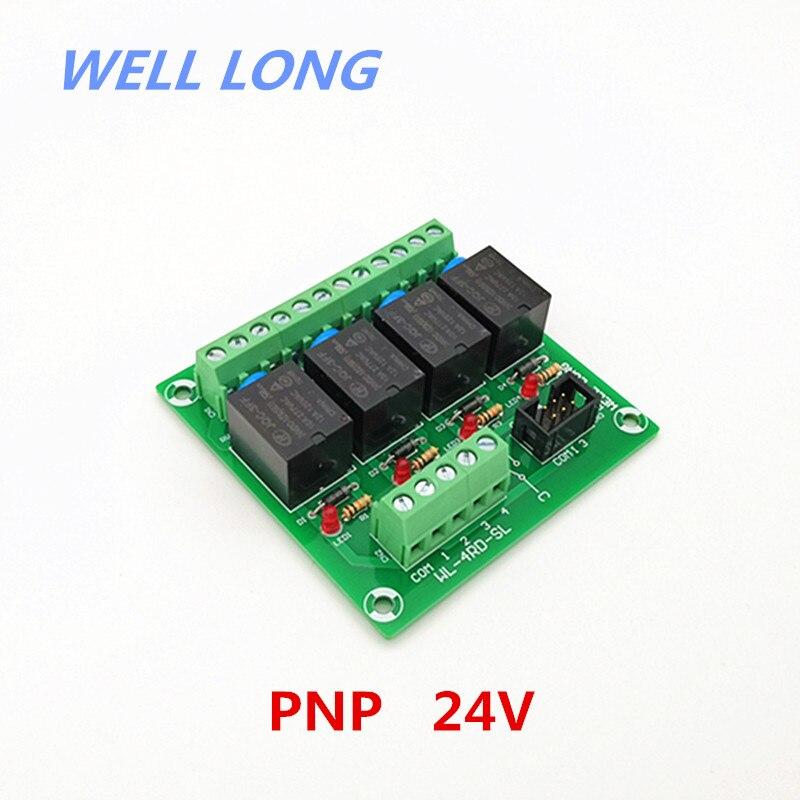 Module d'interface de relais de puissance 24 V 15A de Type PNP à 4 canaux, relais HF JQC-3FF-24V-1ZS.