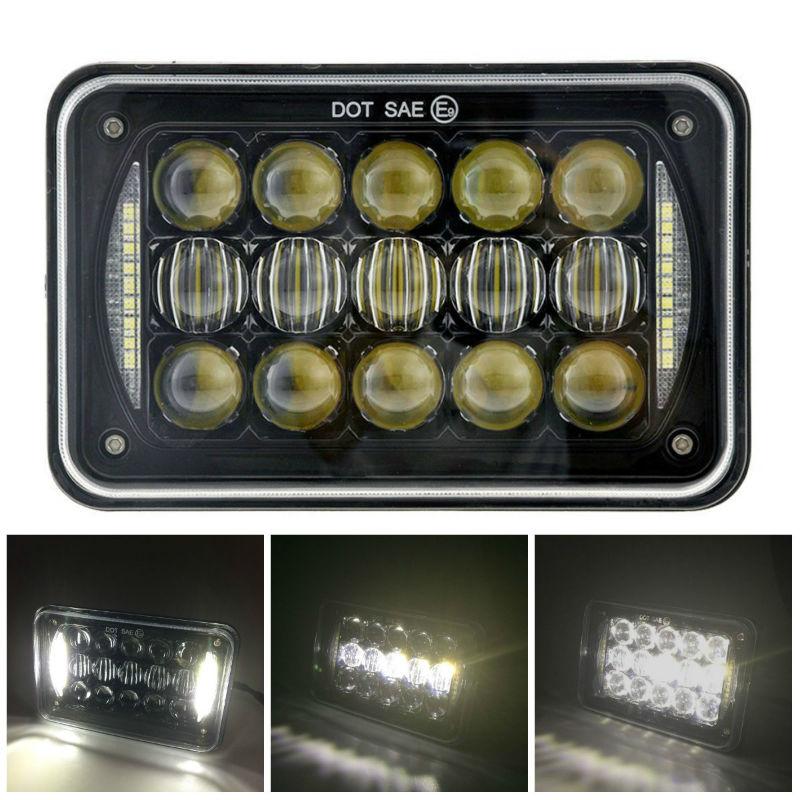 60W 4X6 inch Rectangular LED Headlights 5D Lens H4 Plug for H4651 H4652 H4656 H4666 H4668 H6545 Kenworth T800 T400 T600