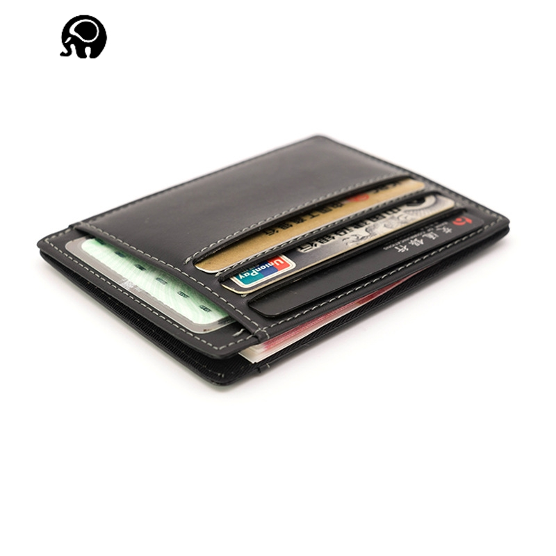 2018 New Vertical section small card sets Women Men Genuine Leather Side open Black Colors Optional The first layer leather