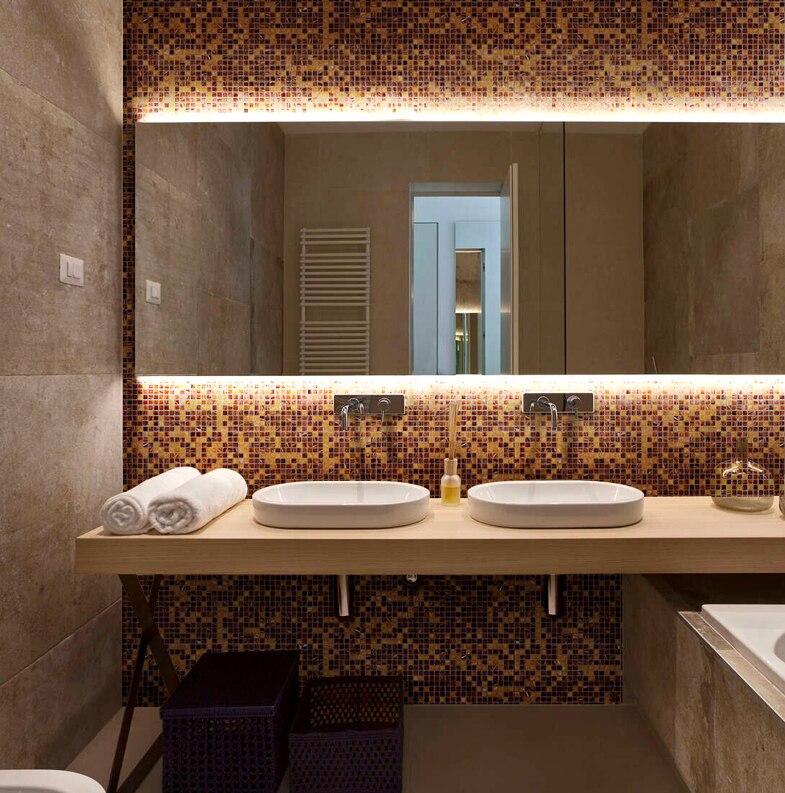 Küche Backsplash Glas Fliesen Gold Linie Muster Meshback Mosaik Fliesen Für  Haus Bad Dusche Arbeitsplatte Wand Boden Decor, LSJX03 In Küche Backsplash  Glas ...