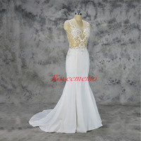 Vestido de Noiva syrenka koronki suknia ślubna sexy przezroczysty top pełna frezowanie suknia ślubna zamówienie fabryczne cena hurtowa
