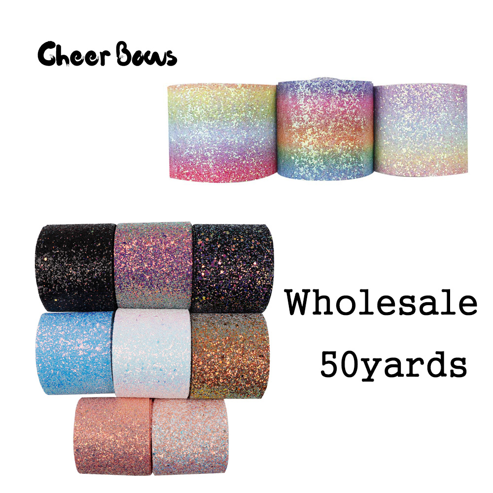 Wholesale 50Y 75mm Glitter Ribbon Chunky Rainbow Sequin Wholesale Ribbon DIY Hair Bow Accessories Materials Crafts