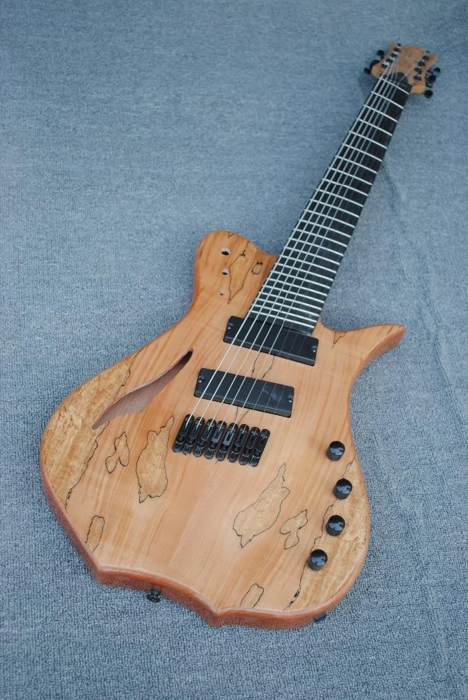Guitare électrique classique à 8 cordes, placage de grain de carte, couleur naturelle en bois, diagonale, accessoires noirs livraison gratuite, peut être