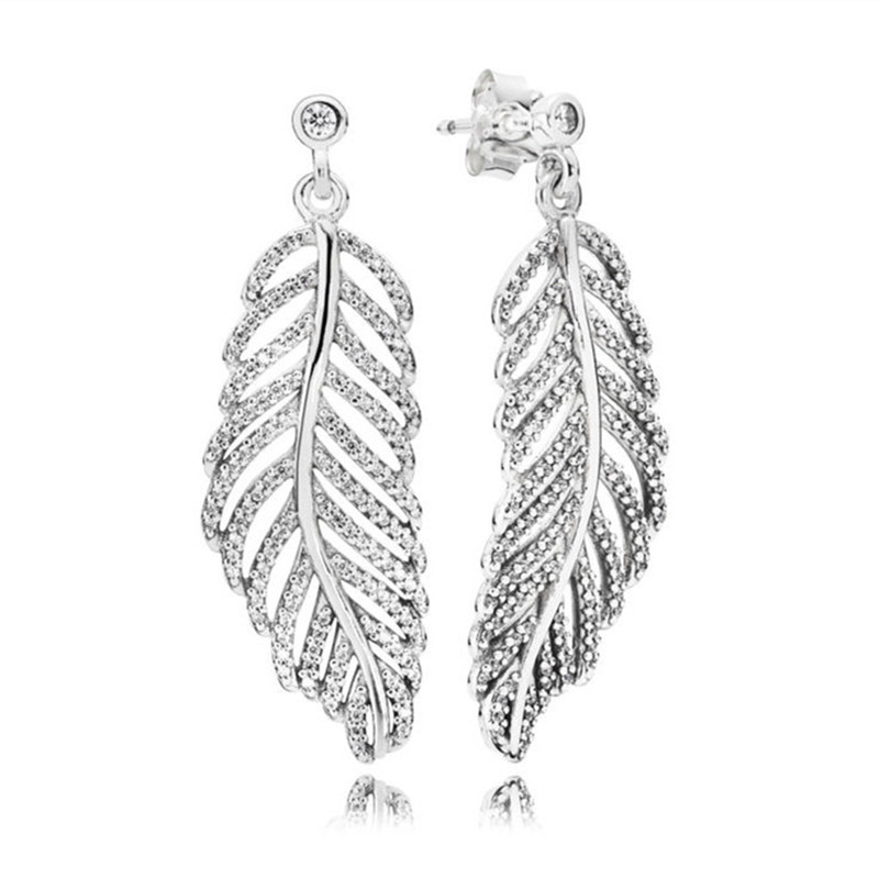 Authentic 925 Sterling Silver Pans Earrings For Women Full CZ Paved Feather Hanging Earring Studs Fine Europe Jewelry Gift in Drop Earrings from Jewelry Accessories