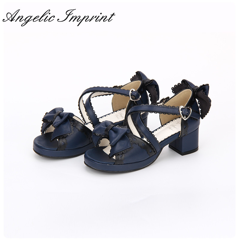 Japanese Sweet Bowtie Lace Trim Criss Cross Chunky Heel Lolita Princess Girl Sandals Summer Shoes preschool programs for the disadvantaged