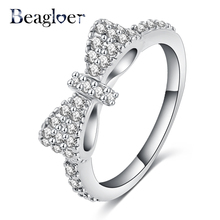2016 New Elegant Bow Ring Platinum Plated Micro Inlay Cubic Zirconia Ring Lovers Jewelry Accessories Ring for Girl CRI0143-B