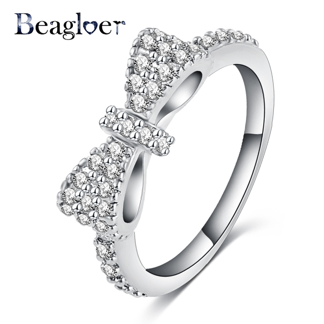 Beagloer New Elegant Bow Ring Silver Color Micro Inlay Cubic Zirconia Ring Lover