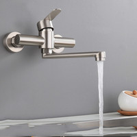 Yooap 2019 Wall Mounted Bath Basin Faucet, 360 Degree Aerator Folding Water Bubbler Wash Hot Cold Mixer Tap for Kitchen Bathroom