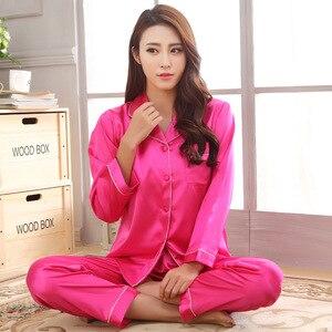 Image 5 - 2019 Yeni Varış Sonbahar Kadın Ipek Pijama Setleri Uzun Kollu Pijama Takım Elbise 2 adet Pijama V Yaka Nefes Pijama Gecelik
