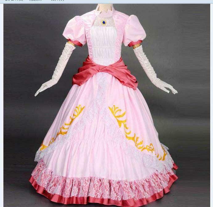 Free Shipping Custom Made Holloween Costume Women Cosplay Super Mario Pink Dress Princess Peach Costume
