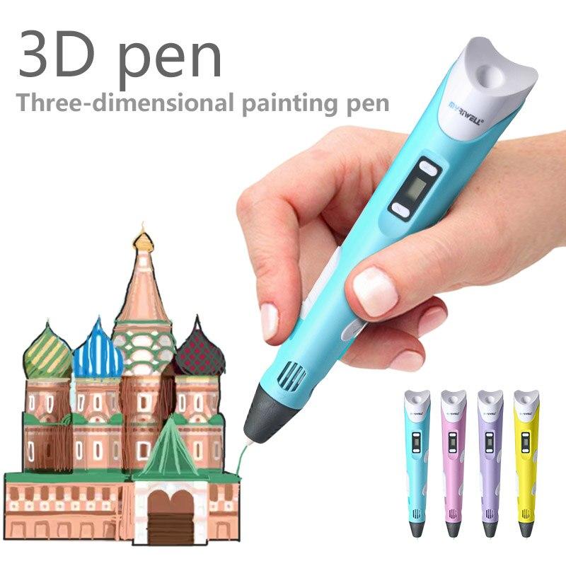 ФОТО High-quality 3D stereoscopic graffiti pen magic pen filament ABS 1.75mm (pen + free filaments + adapter) children like