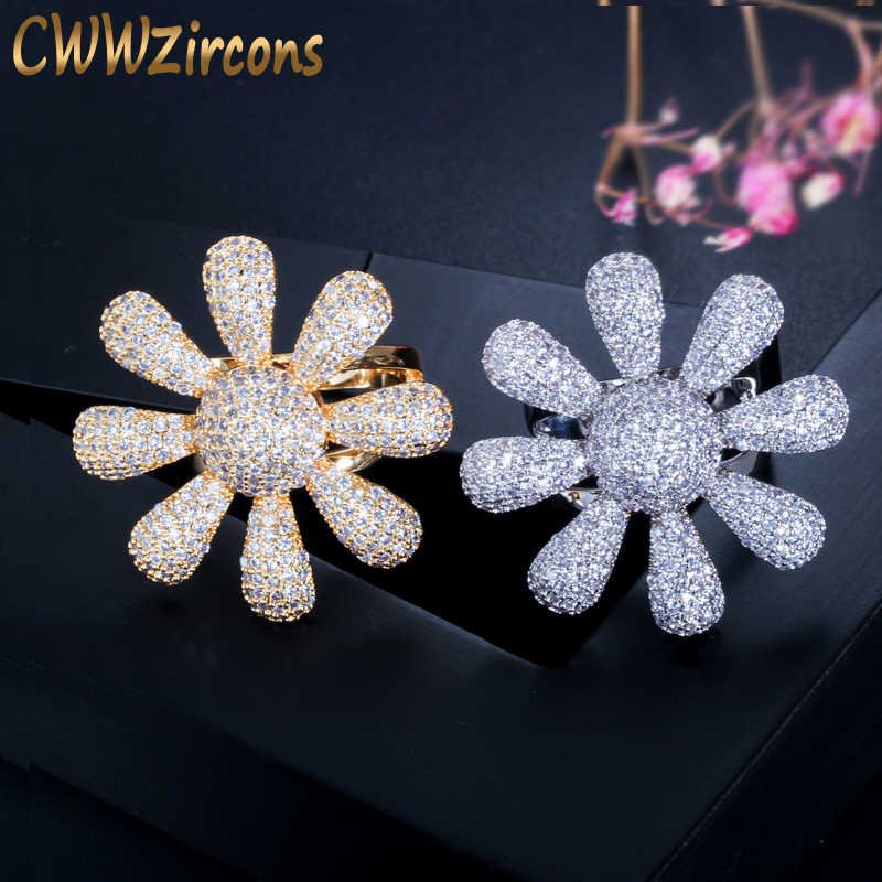 Cwwzircons Blooming Flower Dubai Gold Color African Cubic Zirconia
