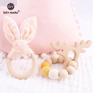 Image 5 - Let S Make 2Pc/1Lotเด็กTeetherกระต่ายหูDIY Teethingไม้สร้อยข้อมือทำจากBeechสัตว์อาบน้ำของขวัญPlay Gymของเล่นเด็กRattle