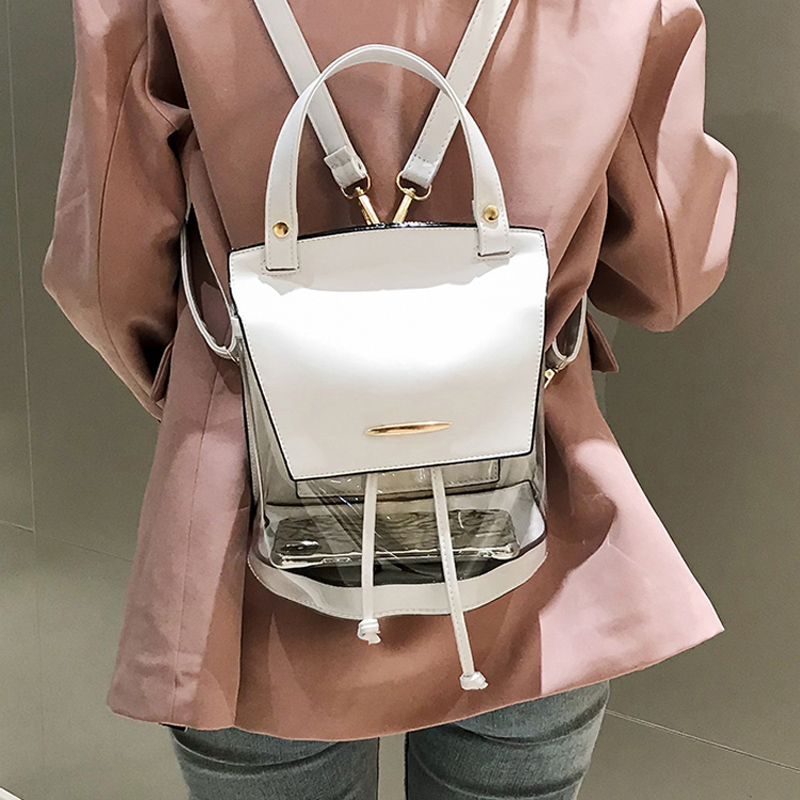Women Transparent Clear PVC backpack Lady Drawstrin Backpack for Teenager Girl School Bags backpack Female Fashion shoulder bags