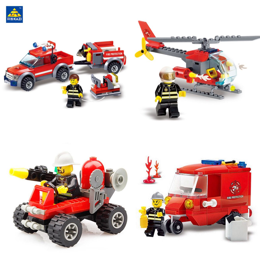 KAZI City Fire Fighting Series Building Brick Toys DIY Firefighting Crew Fire Brigade Truck Car Education Blocks jie star fire ladder truck 3 kinds deformations city fire series building block toys for children diy assembled block toy 22024