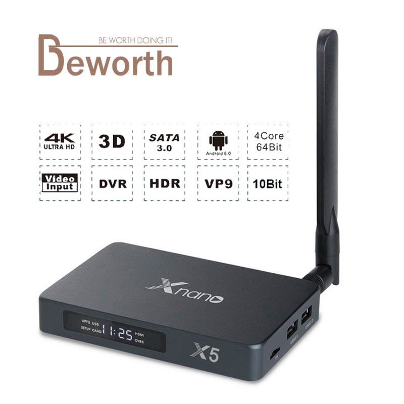 Xnano X5 Android 6 0 TV Box Realtek RTD1295 ARM T820 DDR4 2GB 16GB SATA USB