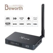 Xnano X5 Android 6.0 TV Box Realtek RTD1295 ARM-T820 DDR4 2 GB 16 GB SATA USB 3.0 5DB Externe Atenna 2.4/5.8G Double WiFi 1000 M
