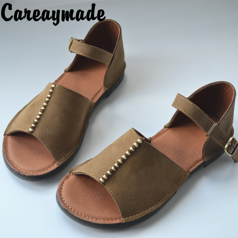 Careaymade Summer real leather hand made sandals the retro art mori girl sewed breathable flat shoes