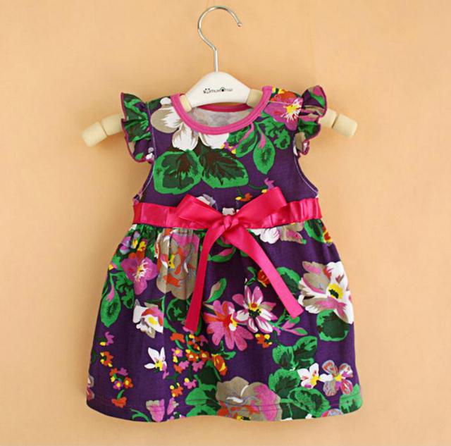 Ropa de bebé al por menor nuevo verano del bebé flor de Las Muchachas vestidos de princesa niños infantil vestido de fiesta freeshipping