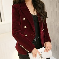 Winter Design European American Double Breasted Gold Metal Buttons Formal Blazers Celebrity Jacket high quality Velvet Blazer A