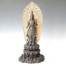 ATLIE Antiques Chinese Sculpture Buddhist  statue Bronze Lotus Saint Guanyin bodhisattva on Statue