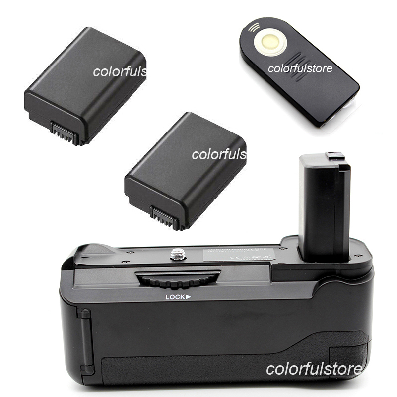 2-Step Vertical Power Shutter Battery Handle Hand Grip For Sony Alpha A6000 Digital Camera as BG-3DIR + IR Remote + 2 x NP-FW50