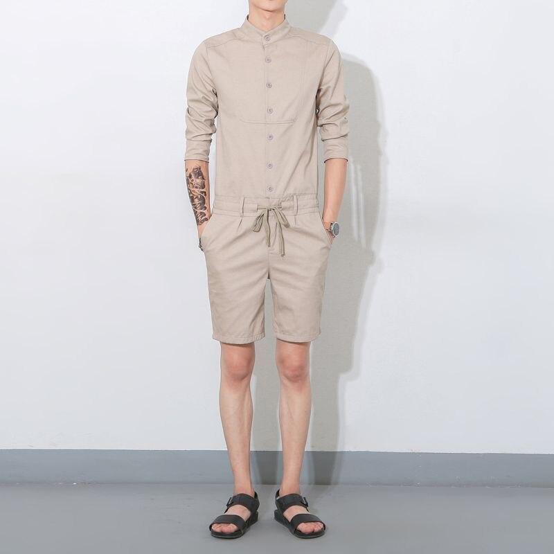 2017 Sommer Männer Bib Freund Overalls Koreanischen Stil Sängerin Kostüme Khaki Militär Cargo-hosen Mode Latzhose 041606