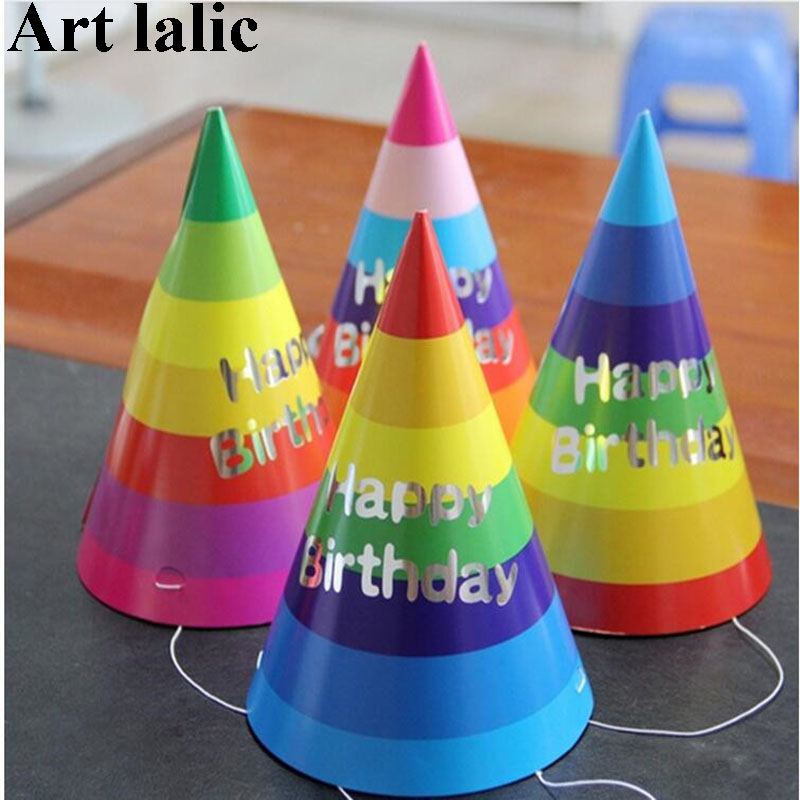 1PCS Paper Cone Birthday Hats Dress Up Girls Boys First Birthday Party Colorful Striped Hat Party Decorations Adult Kids