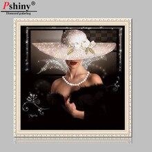 Pshiny 3d DIY diamond painting portrait cross stitch diamond embroidery Beauty Lady FULL round rhinestone home decorative F472