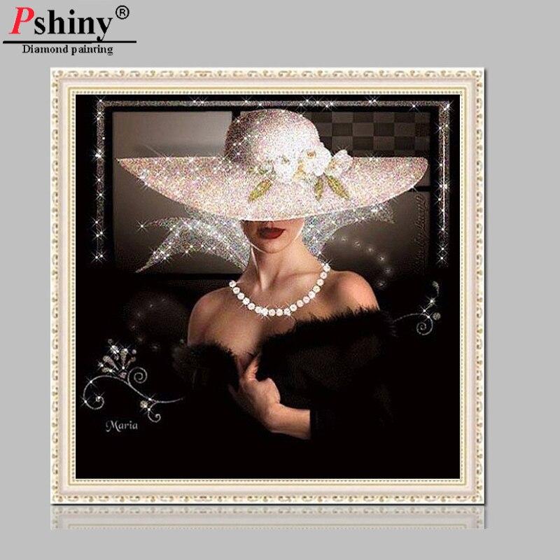 Pshiny 3D DIY dimanta krāsošana portrets krustdūrienā dimanta - Māksla, amatniecība un šūšana