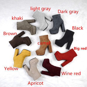 Image 2 - MORAZORA 2020 new top quality faux suede boots women high heels platform ankle boots for women zipper autumn winter shoes female