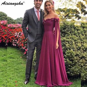 New Elegant Floor Length Sleeves Off the Shoulder Chiffon Long Evening Dresses Party Prom Dresses Formal 2019 vestido de festa