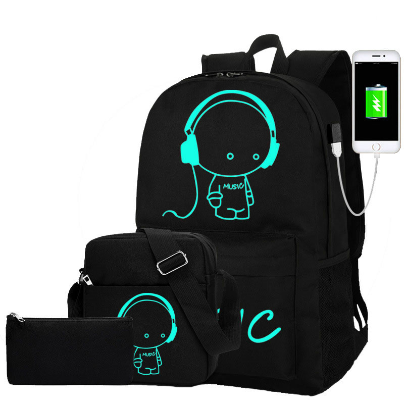3pcs/set Anime Luminous School Bags For Teenage Boys Backpack Child USB Charging School Backpack Girl Schoolbag Mochila Escolar