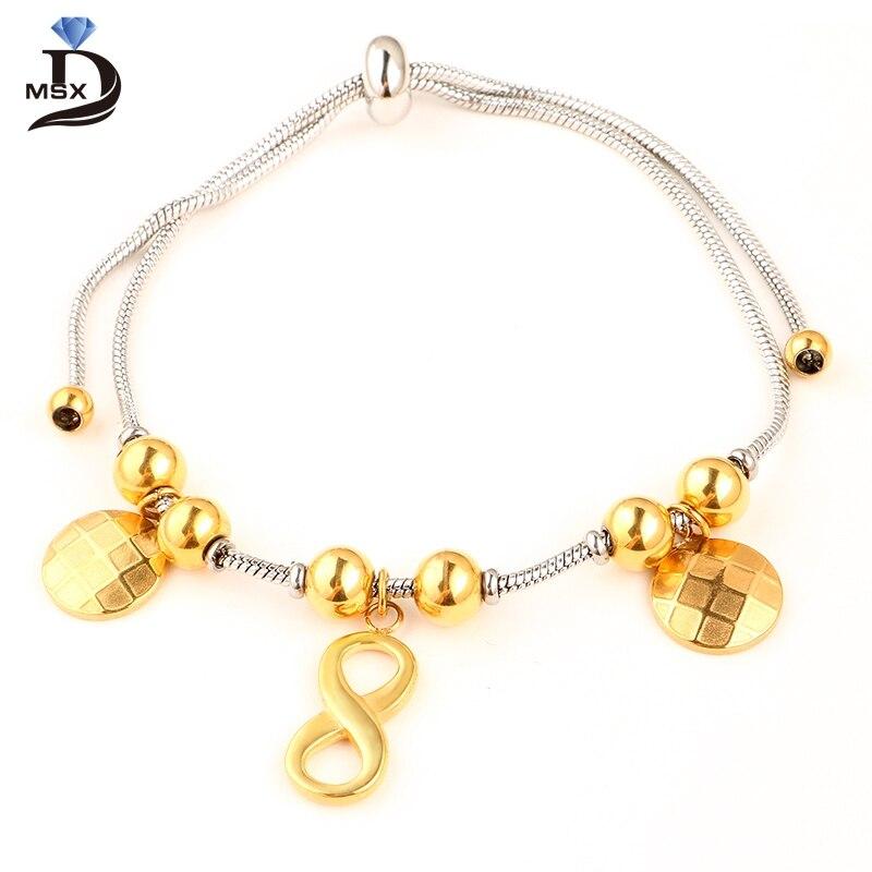 Лаки Браслет Нержавеющаясталь браслет для Для женщин долго кулон Золотое ip-покрытие высокое качество довольно подарок для best друг ювелирн...