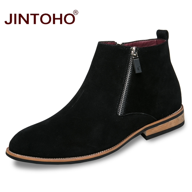 JINTOHO 2018 New Men Suede Leather Boots Winter Mens Shoes Pointed Toe Men Ankle Boots Fashion Male Winter Boots Botas Hombre