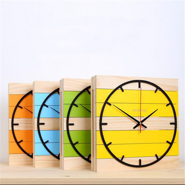 PINJEASModern Nordic Wooden Home Decor Living Room  Wall Mute The Clock Cretaive  Square Bedroom Digital Wall Clocks Decorations
