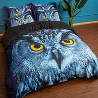 LLANCL Animal Night Owl Bird Printed Quilt/Duvet/Comforter cover Adult Bedroom 3pcs Polyester Fiber Christmas Gift
