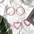 Новая круг «любящее сердце» серьги розовые акриловые простые милые серьги для женщин и девочек с большим круглым романтичные серьги