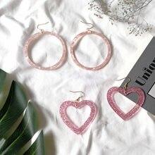Novo acetato círculo amor coração brincos rosa acrílico simples doce bonito brincos para mulheres meninas grande redondo romântico brincos