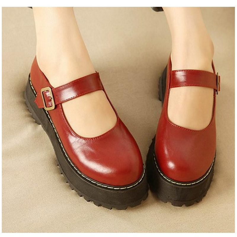 Women Flats Shoes Big Size 35-42 Retro College Wind Round Buckle Thick Crust Muffin Shoes Small Doll Shoes Leather Shoes Sweet