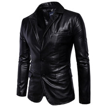 Business casual men leather jacket Spring autumn black and brown PU coat Brand mens Single-breasted locomotive Leather outerwear