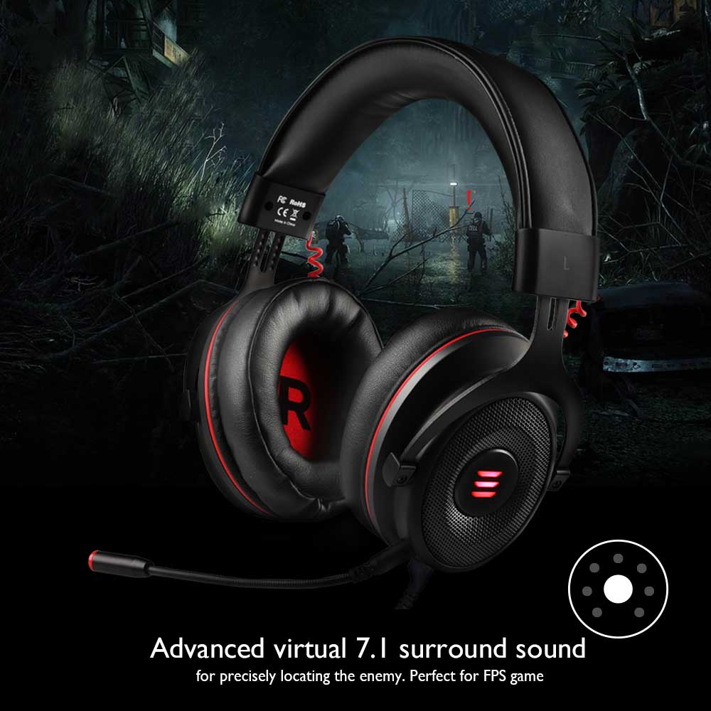 EKSA E900 Gaming Headphones USB Virtual 7 1/ 3 5mm Over-Ear Gaming Headset  With Mic/LED Light For xbox/ps4/phone/PC Gamer 2019