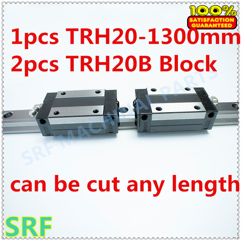 High quality 1pcs Linear guide 20mm TRH20  L=1300mm Linear Rail+2pcs TRH20B linear carriage block for  CNC X Y Z  Axis 2pcs high quality 1 2 inch shank rail