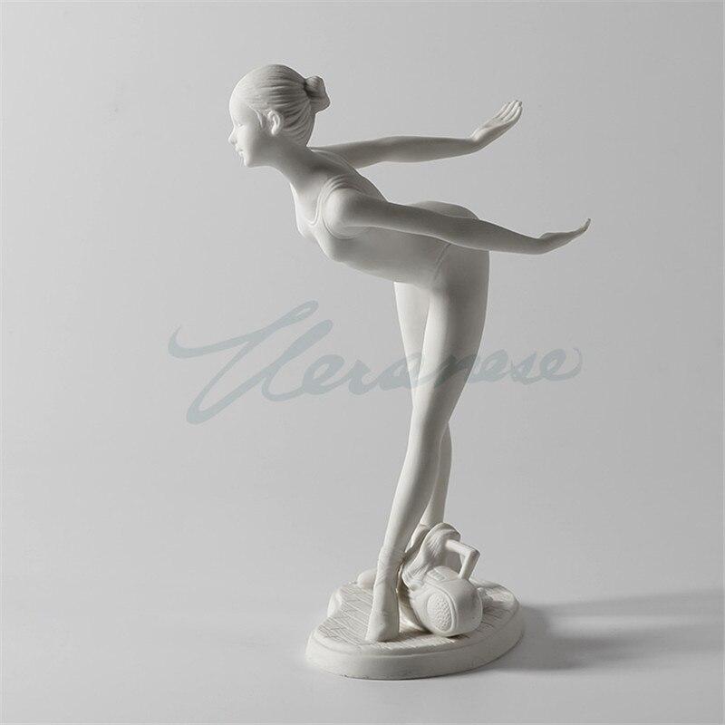 Européen moderne résine Ballet adolescente Statue ballerine Sculpture abstraite personnages Figurine décoration de la maison R1854