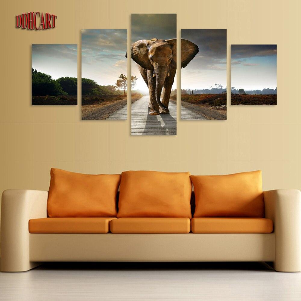 5 Piece Canvas Art Wall Art Prints Painting Elephant
