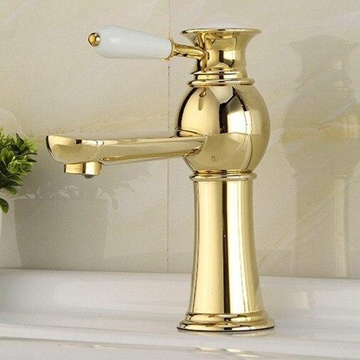 Золотой смеситель для раковины для ванной комнаты, кран для раковины из твердой латуни, кран для раковины горячей и холодной воды, кран для р...