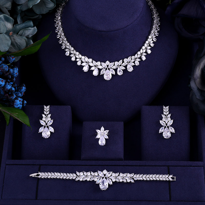 Janekelly Earring Necklace Jewelry Bridal-Dress-Accessories Wedding Cubic-Zircon Dinner