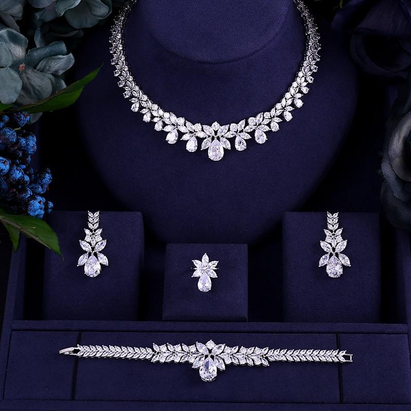 JaneKelly Luxury Sparking Brilliant Cubic Zircon Drop Earring Necklace Heavy Dinner Jewelry Sst Wedding Bridal Dress Accessories