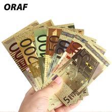 Памятные банкноты подарки Золото реалистичные 5 10 20 50 100 200 500 евро антикварные поддельные деньги 7 шт 24 к Золотая коллекция евро банкноты